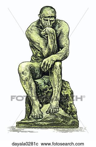 Thinker statue drawing
