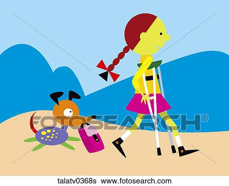 Stock Illustration of Girl on crutches with dog ...