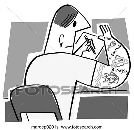 Stock Illustration of A Student Cheating on a Test mardep0201s ...