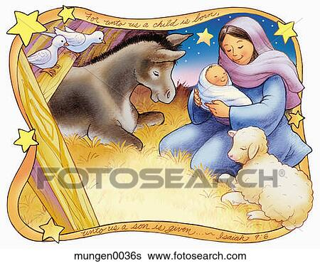 Stock Illustration of The Birth of Jesus mungen0036s - Search Clip ...