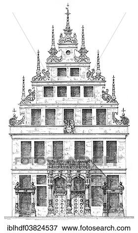 German Renaissance Architectural Drawing Historical House Facade From Around 1880 Town On Prinzipalmarkt Square Munster North Rhine Westphalia