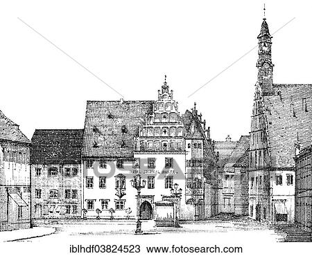 German Renaissance Architectural Drawing Historic Market Square With The Guesthouse Zum Goldnen Anker Around 1880 Zwickau Saxony Germany