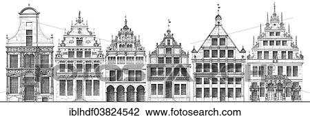 German Renaissance Architectural Drawing Historical House Facades From Around 1880 Town Houses On Prinzipalmarkt Square Munster North Rhine Westphalia