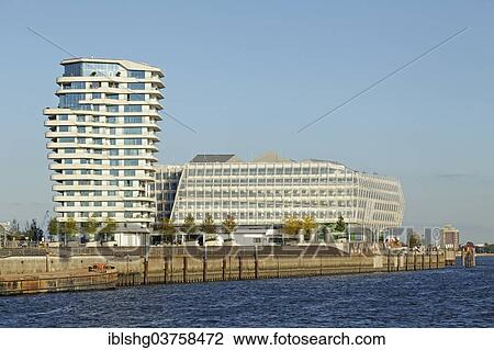Hamburg Marco Polo Tower stock photo of marco polo tower and the unilever house hafencity