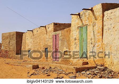 casas en el histrico centro unesco mundo herencia sitio chinguetti adrar regin mauritania frica