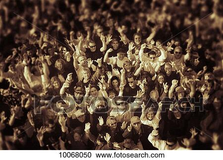 Stock photography of blur assembly black and white b for Audience wall mural