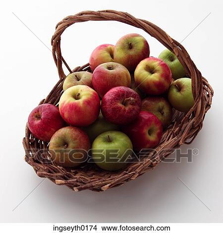 green and red apples in basket. basket of apples, basket, red apple, green apple and apples in a