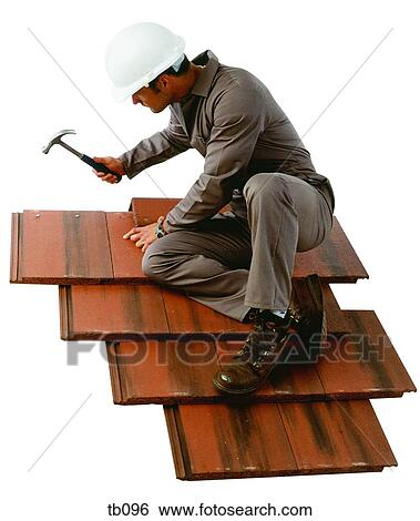Stock images of photograph of a man fixing roof tiles tb096 search photograph of a man fixing roof tiles ppazfo