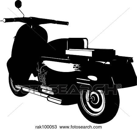 手绘图 - 小摩托车