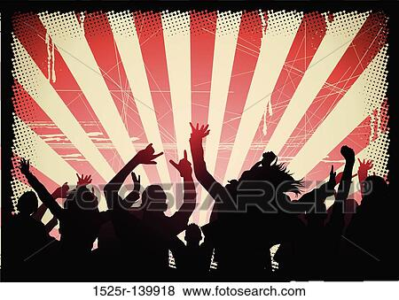 Stock illustration of audience at a party 1525r 139918 for Audience wall mural