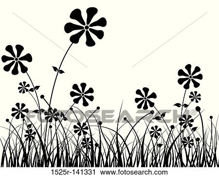 Flowers in Grass Drawing Grass And Flower Vector