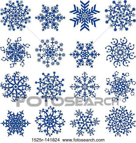 Dessins flocons neige vecteur 1525r 141824 recherche de clip arts d 39 illustrations et d - Dessin flocon de neige simple ...