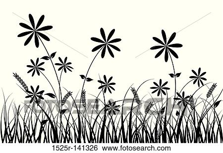 Line Art Flower Drawing : Stock illustration of grass and flower vector r
