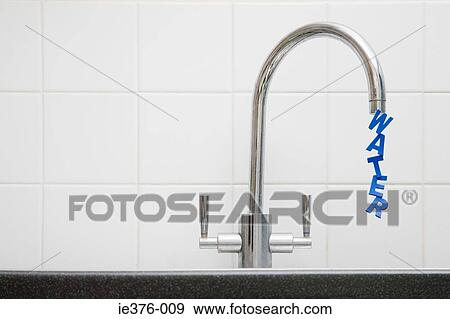 Stock Photograph of Word water coming out of tap ie376-009 - Search ...