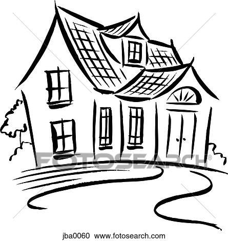 Haus clipart schwarz weiß  Stock Illustrationen - haus, b&w jba0060 - Suche Clipart ...