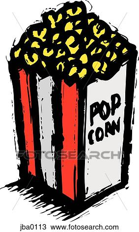 Drawing of bag of popcorn jba0113 - Search Clipart, Illustration ...