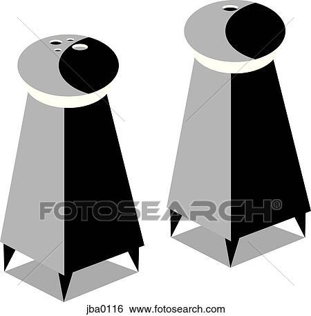 Stock Illustration Of Salt And Pepper Shakers B W Jba0116