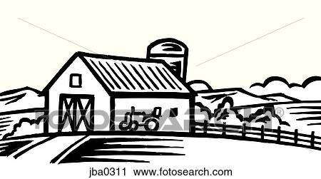 Barn Silhouette Drawing Barn And Tractor B&w