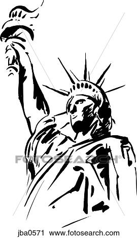 Clipart of statue of liberty b&w jba0571 - Search Clip Art ...