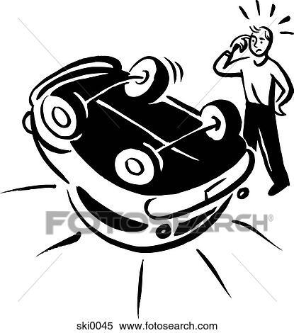 Banque d 39 illustrations accident voiture b w ski0045 recherche de cliparts de dessins d - Accident de voiture dessin ...