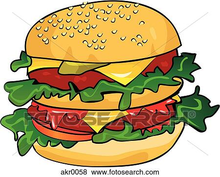 stock illustration of deluxe cheeseburger akr0058 search eps clip rh fotosearch com cheeseburger clipart free bacon cheeseburger clipart