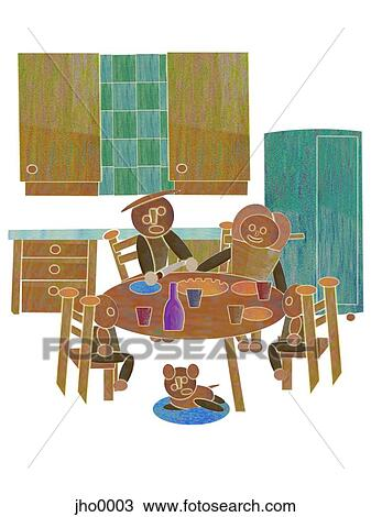 Drawing Of Family Eating Dinner Together Jho0003