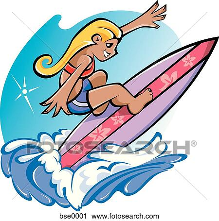 clipart of girl surfing bse0001 search clip art illustration rh fotosearch com Surfboard Clip Art Surfing VW Bus Clip Art