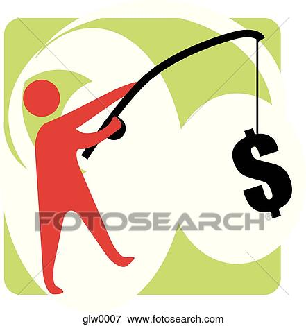 Stock illustration of man fishing for money glw0007 for Fish for cash