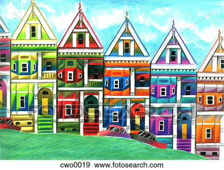 Stock Illustration of san francisco row houses cwo0019 ...