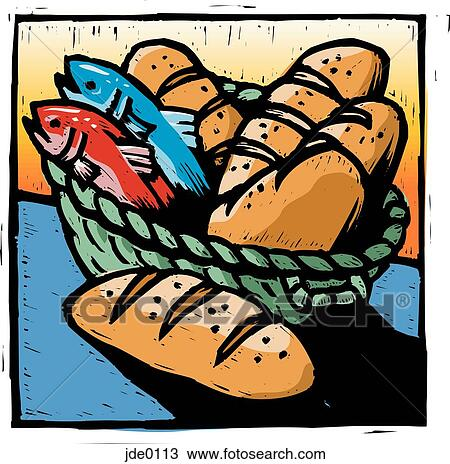 Drawing of bread and fish jde0113 - Search Clipart, Illustration, Fine Art Prints, and ...