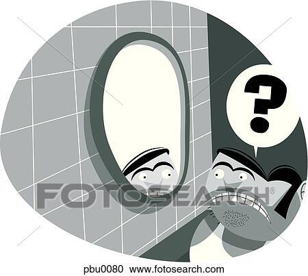 Banque d 39 illustrations court homme regarder dans les for Regard dans le miroir