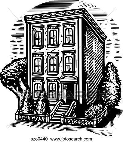 Stock Illustrationen - mehrfamilienhaus, schwarz weiß ...