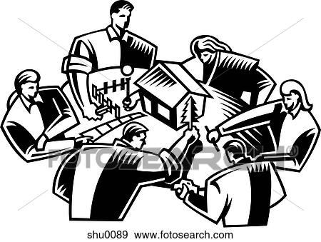 Stock Illustration Of A Group Of People Working On A Scale