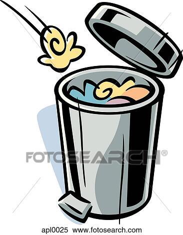 Banque d 39 illustrations dessin anim dessin de a poubelle apl0025 recherche de cliparts - Dessin de poubelle ...