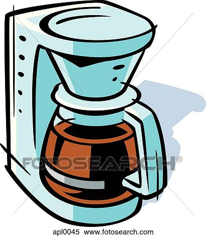 Stock Illustration of Drawing of a coffee maker apl0045 - Search Clipart, Drawings, Decorative ...