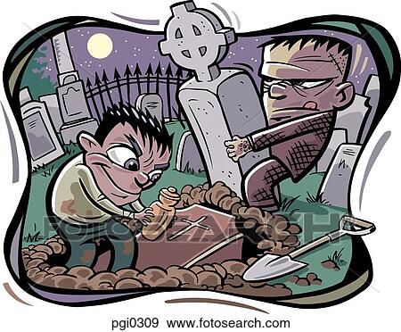 Stock Illustration of Two robbers digging up graves ...