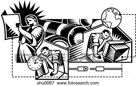 Stock illustration of an illustration of men working to meet a