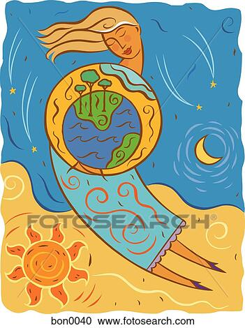 Stock illustrations of illustration of mother earth holding the planet bon0040 search clipart - Mother earth clipart ...