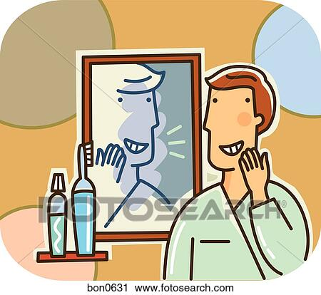 clipart of a man smiling at his reflection in the bathroom mirror
