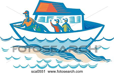 Clipart of People waving goodbye from a boat sca0551 - Search Clip ...