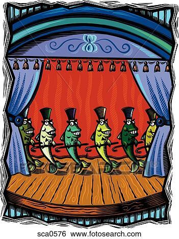 Stock illustration tanzen fische b hne halten st cke for Fische halten