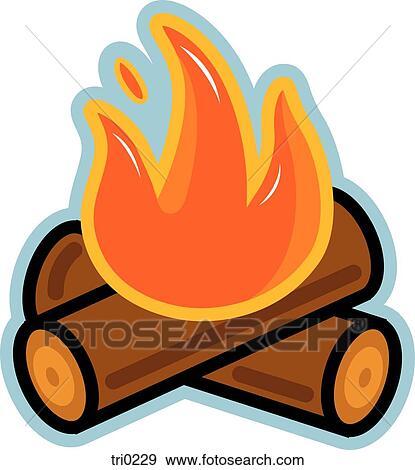 Burning Wood Clipart Illustration of burning log