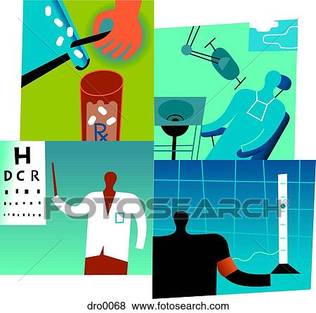 Stock Illustration of A collage depicting health benefits ...