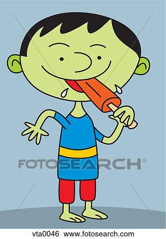Stock Illustration of Portrait of a boy eating popsicle ...
