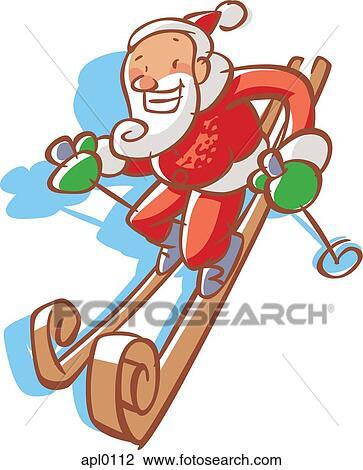 剪贴画 圣诞老人, 滑雪术downhill