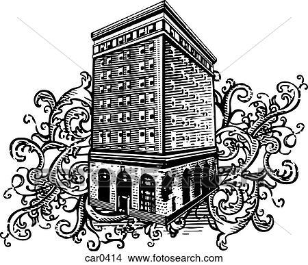 Stock Illustration of Old building on floral background shapes ...
