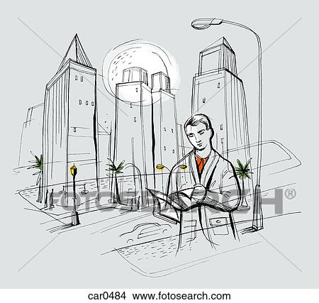 Drawing of a man reading papers with a busy cityscape behind him view