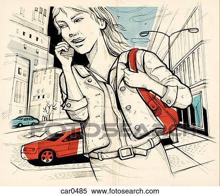 Stock illustration of drawing of a woman talking on her cellphone on a