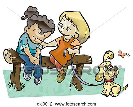 Clip Art of A girl with her pet dog consoling a sad girl ...
