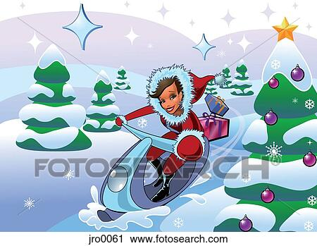 Clipart of A woman in Santa suit with gifts on a snowmobile in a ...